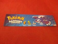 Pokemon Sapphire Nintendo Game Boy Advance Promotional Bookmark
