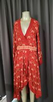 SPELL & THE GYPSY JEWEL SOIREE MIDI DRESS  RED SMALL  Pre - owned VGUC