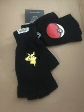 Hot Topic Pokemon Fingerless Gloves Pikachu and Poke Ball Black! New!