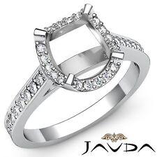 Diamond Engagement Ring Cushion Semi Mount 18k White Gold Halo Pave Set 0.4Ct