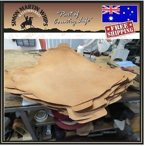 SADDLE TAN Color VEG TANNED Kangaroo leather skin hide for plaiting whip making.