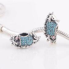 SEA HORSE SEAHORSE Blue Crystals .925 Sterling Silver European Charm Bead