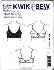 Bra Size 32-40 AA-DDD Kwik Sew 3594 Adjustable Straps Sewing Pattern XS S M L XL