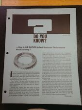 Vintage Chevrolet Sales Fact Sheet DYK January 1969 Jan 9 69 Chevy Axle Ratios