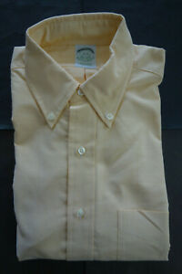 NWOT Brooks Brothers Yellow Supima Oxford Button Down 15-35 Extra Slim MSRP $95