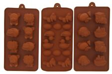 """Silicone Pastry Candy Gummy Mold - Chocolate Ice Cubes Soap - 3 Piece Set - 8"""""""