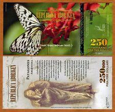 Republica Aborigen 250000 (250,000) Pira Pire $ POLYMER 2014, UNC   Butterfly