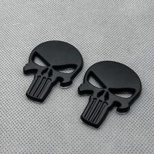 2x Black Metal Fender Punisher Skull Badge Logo Rear Lid Trunk Emblem Sticker