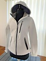 Womens Xersion Jacket Mid-Weight White Coat Poly-Stretch Sleek Zip Detach Hood S