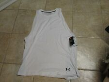"UNDER ARMOUR ""HEAT GEAR"" MENS TRAINING TANK TOP (XXL) NWT WHITE W/BLACK LOGOS"