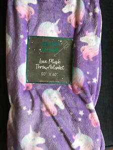NWT Spring Summer Purple Tinker Unicorn Soft Plush Throw Blanket 50 x 60