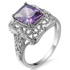 Elegant 925 Sterling Silver Purple Amethyst Wedding Engagement Ring Size: 9.5