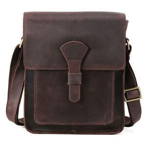 Men Full Grain Leather Messenger Shoulder Bag Cross Body School Satchel Handbag