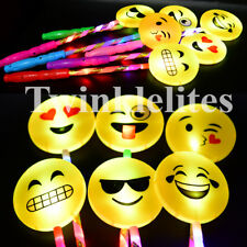 12 Emoji Favors Wands Light Up Flashing Magic Party Favors LED Toy Sticks
