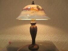 Dollhouse Miniatures ~ Ni Glo Beautiful Porcelain Shade Lamp w/ Snowy Barn Scene