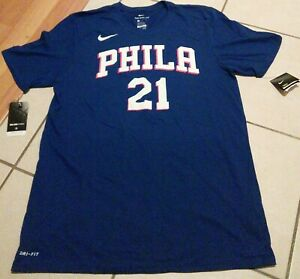 Authentic Men's Nike Dri-Fit x Philadelphia 76ers Sixers Shirt Joel Embiid #21 L