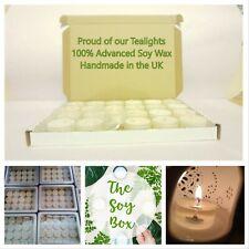 Soy Wax Tea lights Unscented  Handmade in UK in elegant cups - 4-6 Hours - Vegan
