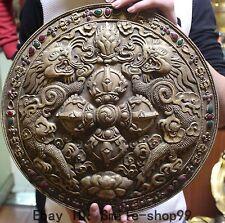 "14"" Tibet Buddhism 100% Bronze Gold inlay Gem Dragon kylin Fa QI Thangka Tang Ka"