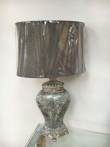Large Grey Regency Sparkle Mosaic Table Lamp  79cm height