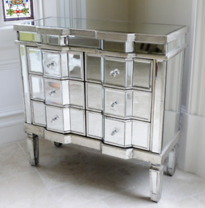 Mirrored Chest Of 6 Drawers Silver Venetian Storage Cabinet Side Cupboard Unit