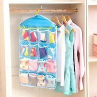16 Pockets Clear Over Door Hanging Bag Socks Bra Rack Hanger Storage Organizer.