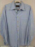 ORVIS MENS CASUAL L LONG SLEEVE SHIRT BLUE PLAID SIGNATURE COLLECTION