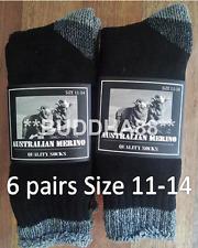 6 Pairs 11-14 Heavy Duty Australian Merino Extra Thick Wool Work Socks Black