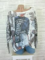 Oversize ITALY Strick Shirt Pulli Pullover Tunika Print 38 40 42 NEU P518