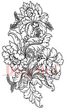 Deep Red Rubber Stamp Floral Journal Print Flowers