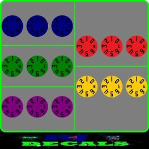 Coloured Dial Decals Set 6 (5 Colours) Delkim Txi Ev & Std Alarms
