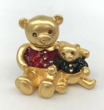 Estee Lauder Teddy Bear Hug Solid Perfume Box Beautiful Gold Enamel 90s Retired