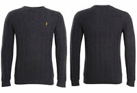 Mens Jumper High St Cable Knit Cotton Nylon Wool Charcoal Grey Sweater XS to 3XL