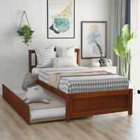 Wood Daybed Twin Size Walnut Bed Frame W/ Trundle Frame Matress Fountdation