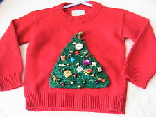 CHRISTMAS TREE PULLOVER~Size 4 girls with ornaments, no 2 alike, hand decorated