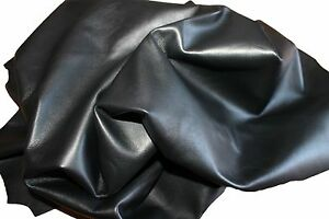 Italian hides Lambskin soft Leather hide skin skins JET BLACK 6sqf