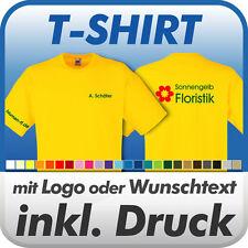 T-SHIRT, gelb, Fruit of the Loom, inkl. Wunschtext / Logo / Druck / Werbedruck