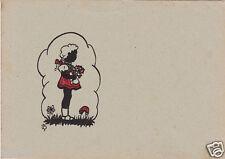 Scherenschnitt: Mädchen mit Blumenstrauß 1940er/50er