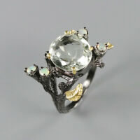 Natural Green Amethyst 925 Sterling Silver Ring Size 7/RR17-1440