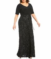 ALEX EVENINGS Black V-neck Short Sleeve Jersey & Rosette Lace Sequin Gown 20W