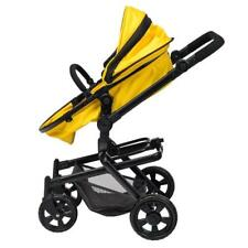 2-In-1 Stroller & Carrycot Girls Dolls Pram Baby Carriage Yellow Buggy Kids NEW
