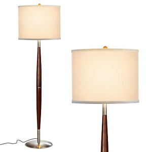 Brightech Lucas Tall Free Standing LED Mid Century Wood Floor Lamp w/ Drum Shade