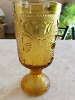Vtg Indiana Glass Sandwich Amber Daisy Water Goblet Drinking Glass