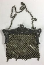 Antique German Silver Mesh Evening Bag Handbag Purse w Metal Chain Strap