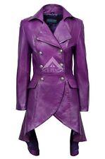EDWARDIAN Ladies Purple WASHED Real Leather LACED BACK Jacket Coat Gothic 3492