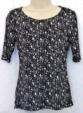 Cable Gauge Womens Blouse Size Medium Short Sleeve Black White Geometric