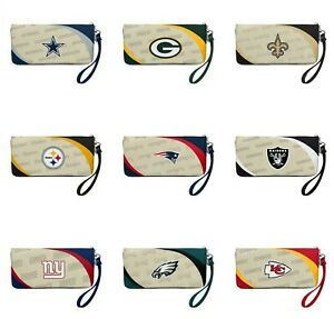 NFL Licensed Women's Curve Zip Organizer Wallet Wristlet Purse - CHOOSE TEAM -