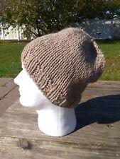 Mens Beanie Hat Alpaca Wool Cap Hand Knitted Slouch Beige Brown