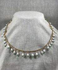 Columbian emerald, freshwater pearl and 18k gold fringe necklace