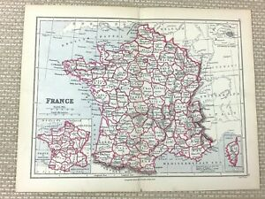 1894 Antique Map of France French Departments 19th Century Old Edward Weller