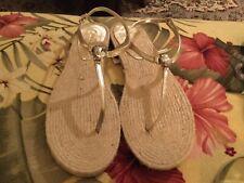 RALPH LAUREN metallic Gold Leather Chrystal  Medallion Strappy Flat Sandals 8